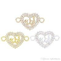 bilezikler konektörler cazibe kalp toptan satış-50 ADET Aşk İslam Kalp şeklinde Bağlayıcı Din Müslüman Charm Kolye Bilezik DIY Metal Kolye Takı Aksesuarları toptan