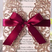 Wholesale Wedding Invitations - 2019 New Rose Gold Glitter Laser Cut Invitations Cards with Burgundy Ribbons For Wedding Bridal Shower Engagement Quinceanera Graduation