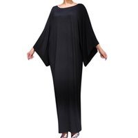 islamische lässige mode großhandel-Damenmode Muslim Retro Langarm Elegante Lässige Soild Langes Kleid Carnaval Volwassen Kostuums Islamic C30116