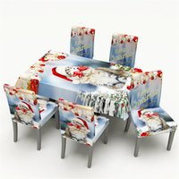 Wholesale linen style tablecloths resale online - New Year Merry Christmas Decorations for Home Waterproof Dining Tablecloth Chair Cover Christmas Style Navidad Natal