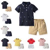 Wholesale baby boy leopard clothes online - baby boys formal clothing set V neck Shirt shorts pants kids boy clothes suit children cotton summer outfits styles boutiques