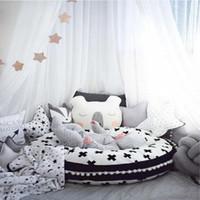 esteira do rastejamento do bebê macia venda por atacado-2020 Nordic Children '; S Rodada Mat decoração do quarto do bebê de rastejamento Mat Lace Super Macio Thicken Pillow padrão da cópia Cushion