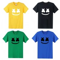 Wholesale home printing for sale - DJ Marshmello Short Sleeves Printing Smiley Face Color Mix Summer T Shirts Fashion Adult Home Clothing rw E1