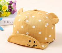 neugeborene hüte ohren großhandel-Mode sommer strand gestreiften krempe hut sonnenhut kappe für neugeborene baby boy baumwolle baseballmütze ohr lächeln gesicht