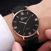 genf armbanduhren neue ankunft großhandel-2019 neue ankunft luxus genf quarzuhr für frauen männer liebhaber paar armbanduhr business fashion leder armband uhren