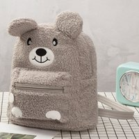 Wholesale small baby girl backpack resale online - 2019 Autumn And Winter New Kindergarten Baby Cute Cartoon Brown Bear Plush Small Black Schoolbags Pink Girls Children s Bags
