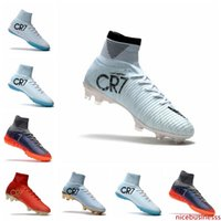 Wholesale high tops cleats kids ronaldo for sale - Group buy High Top mens Soccer Shoes White Gold CR7 Soccer Cleats Mercurial Superfly FG V Kids Soccer Shoes Cristiano Ronaldo mens Training Sneakers