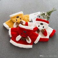 baby weiche jacke großhandel-Baby-Wintermantel-Weihnachtsrotwild-mit Kapuze Bogen-Baby-Jacke mit den Ohren, die weich sind, kleidet Säuglingsmantel-Baby-Oberbekleidung