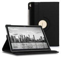 huawei mediapad için deri çanta toptan satış-360 Derece Dönen deri standı kılıf için Huawei MediaPad M5 Lite 10 T5 T3 7 8 10 inç Tablet PC Kapak Durumda