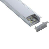 iluminación de tira de aluminio al por mayor-100 X 2 M sets / lote Brida lineal led tira luz perfil aluminio T estilo aluminio extrusión led para iluminación de techo