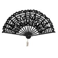 düğün için dantel el fanlar toptan satış-Katlanabilir Vintage Lady El Yapımı Dantel El Fan Gelin Düğün Dekorasyon Için / Sahne Performansı / Sıcak Yaz Günleri El yapımı