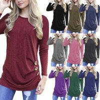 Wholesale wholesale tunic tees for sale - Women Long Sleeve Button T Shirt Loose Trim Blouse solid color Round Neck Tunic Maternity Tops Tees home Shirt AAA1674