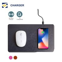 Wholesale luxury mouse for sale - Group buy Qi Wireless Charger Mouse Pad luxury leather materail mobile phone charger mouse pad For iphone X plus Samsung s9 plus Smartphone