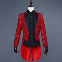 с блестками оптовых-High Quality Men's 5 Colors Sequin Double Breasted Slim Fit Tailcoat Stage Singer Prom Dresses Costume Wedding Groom Suit Jacket