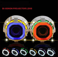 Wholesale projector kit hid online - car Lens Headlight h4 h7 h1 inch CCFL Angel Eyes BI Xenon HID Projector Lens Kit Double Bulbs BiXenon blue red white lamp lights