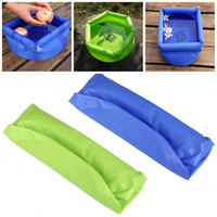 Wholesale portable car wash bucket for sale - Group buy 8L Foldable Outdoor Gadgets Washbasin Blue Green Color Inflatable Folding Bucket Portable Wash Basin Fit Travel Camping Equipment at E1