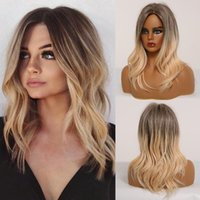 Wholesale cosplay hairstyles for women resale online - EASIHAIR Medium Length Ombre Blonde Synthetic Wigs for Women Natural Wavy Hairstyle Wigs Trendy Heat Resistant Daily Cosplay Wig
