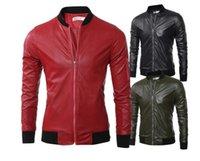 deri ceket kısa kollu erkekler toptan satış-Kısa deri ceket erkekler ince motosiklet ceket ceketler Uzun kollu giysi kişiselleştirilmiş jaqueta de couro sahne sokak moda