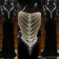 ingrosso disegni perla nera-Black Mermaid Prom Dress 2018 Nuovo Design Profondo Scollo AV Con Perle Perline Torna Plus Size Abiti Da Sera Formale Del Partito SP349