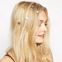 цвет волос оптовых-1pc/bag Fashion Gold Color Stars Coil Spring Clips Hairpin Hair Jewelry For Woman Girl Head Accessories Wedding Ornaments