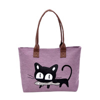 сумочки для кошек оптовых-Handbags New Fashion Women Shoulder Bag Canvas Clutch Bag Cute Cat Office Lunch sac a main femme de marque luxe cuir 2019