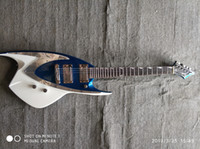 Wholesale custom made electric guitars resale online - A new custom made shaped six string electric guitar Blue and white body
