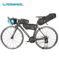 sac accessoires cadre achat en gros de-Roswheel Sac De Vélo Étanche VTT Vélo De Route Sac De Selle Vélo Haut Avant Cadre Tube Guidon Sacs Vélo Accessoires