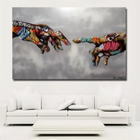 pinturas de figuras famosas al por mayor-SELFLESSLY Classic Street Art Graffiti Pintura Abstracto Colorido Manos Imágenes Wall Art Prints Posters For Living Room