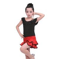 kinder latin tanz tragen kostüme großhandel-Tanzabnutzung der Kinder trägerloses gekräuseltes Riemenlatein-Kurzschlussrockspaltenklage-Mädchen üben Kostüme en gros