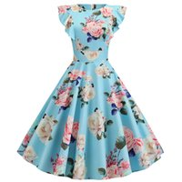 Wholesale casual pin up resale online - Women Polka Dot Vintage Dress Summer Pin Up Rockabilly Robe Midi Party Dress Casual Petal Sleeve Elegant Office Dresses