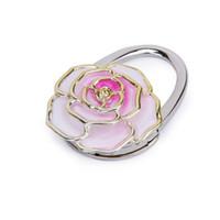 Wholesale rose shaped purse for sale - Group buy Folding Handbag Purse Bag Hanger Table Hook Hang Holder Rose Flower Shape