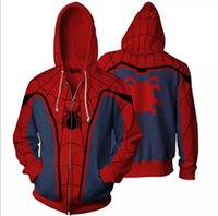 Wholesale superheroes woman costume online - Cosplay Costume Casual Hoodies Superhero Spiderman Ironman Zipper Cardigan Hooded Coats Man Women Fashion Sweatshirts Plus Size S XL