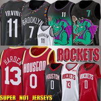 malhas de foguetes venda por atacado-Rockets Russell Jerseys Westbrook Brooklyn 7 Kevin Nets Durant Jersey Verde Preto DRAGÃO James 13 Harden Jerseys 11 Kyrie Jerseys Irving