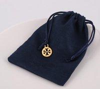 caja de joyas collares al por mayor-Diseñador de la marca, azul marino, joyería, bolsa de regalo, terciopelo, pulseras, collares, bolsas de regalo, estuche con colgante