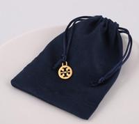 pingentes de saco de pulseira venda por atacado-Marca Designer Azul Marinho Saco de Presente de Jóias de Veludo Pulseiras Colares de Presente Caso Malotes com Pingente