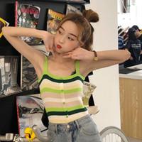 vêtements de style hipster achat en gros de-hipster nouvel été douce style coréen de la mode des femmes de la mode vestimentaire sans manches tops femme bouton gilet camis rayé arc-en-ciel