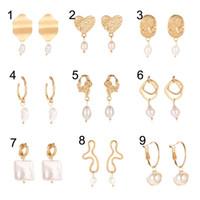 Wholesale coin womens jewelry resale online - 25 Styles Mixed Luxury Designer Jewelry Womens Gold Earrings Heart Coin Fresh Water Pearl Earrings Drop Dangle Jewelry Gift