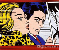 Wholesale car art oil paintings resale online - Roy Lichtenstein Reverie Handpainted Oil Painting In the Car Wall Art On High Quality Canvas Home Deco ry11