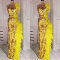 plumas de vestidos amarillos al por mayor-Glamorosa vestidos de fiesta de sirena amarillos 2019 lujosos de plumas con lentejuelas apliques sin tirantes piso-longitud vestidos de noche largos desgaste formal
