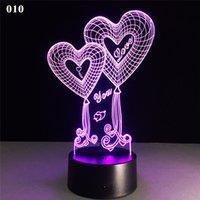 ingrosso luce notturna della lampada di cuore-3D Regali di San Valentino Lampada di ricarica USB Amore a forma di cuore Touch Lights Lampade da matrimonio decorative da notte Lampada da tavolo Lampada da tavolo a LED