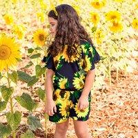 случайный цветочный комбинезон оптовых-Девушки мода подсолнечника печати ползунки дети девушка летающий рукав повседневные комбинезоны дети цветок печатная одежда RRA561