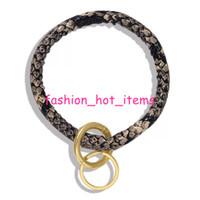schlange keychain großhandel-Schlange PU-Armbänder Neue Ankunft Schlangen-Druck-Tierdrucklederarmbänder mit keychain Schlüsselring für Weihnachtsgeschenke