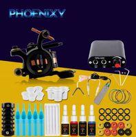 pigment makyajı sıcak satış toptan satış-Sıcak Satış Komple Dövme Makinesi Seti Seti 1 Bobinler Guns 4 Renkler Siyah Pigment Setleri Güç Dövme Acemi Sapları Kitleri Kalıcı Makyaj