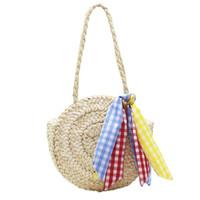 en iyi çanta çantaları toptan satış-En çok satan doğal renk yuvarlak hasır plaj kova omuz hobo tote alışveriş çantası bayanlar kadınlar için popüler yaz örgü çanta ile eşarp