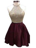 dunkles lila offenes rückenkleid großhandel-Chic High Neck Sleeveless Dark Purple Prom Kleider Major Perlen kurze Kleider für die Heimkehr Open Back A-Line Kleider mit Perlen