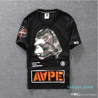 Wholesale cartton animals for sale - Group buy Summer Lovers Mens Cartoon Apes T Shirts Fashion Crew Neck Short Sleeve Classic Camo Printed Breath Male Tops Tees Cartton Casual Tees