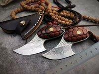 cuchillas de hoja fija de alta calidad al por mayor-Cuchillo de hoja fija de acero Damasco VG10 de alta calidad 60HRC Hoja Mango de palisandro Tang completo Cuchillos EDC