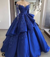 ingrosso gonne blu-2019 Abiti da sera eleganti con scollo a V Maniche lunghe Perline di cristallo Royal Blue Satin a strati Gonne Occasioni speciali Abiti da sera