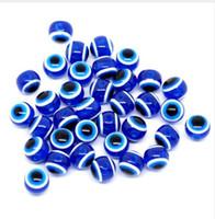 mavi reçine boncukları toptan satış-1000 ADET Mavi Boncuk Yuvarlak Nazar Reçine Göz Boncuk Şerit Spacer Boncuk Takı Moda DIY Bilezik Yapımı Kadınlar Hediyeler