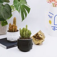 ingrosso piccoli vasi vegetali decorativi-merican Creative Design Planter Face Bianco Nordic Ceramic Piccolo vaso decorativo Flower Pot Succulents Indoor Plant Holder Casa American C ...
